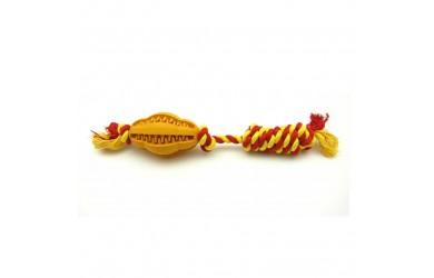 橡胶洁齿橄榄球连绳结